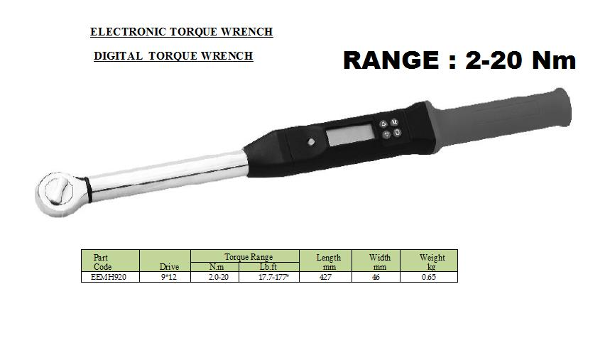 Electronic torque wrench /  Digital torque wrench  RANGE : 2-20 Nm  JALA SALES – TORQUE SULUTIONS , suppliers of Digital torque wrench in Pune which  provides a digital display of torque readings. Digital torque wrench is  a Torque measuring tool is designed for joint audit  of  screw tightening  and general torque measurement.   1.	Electronic torque wrench, energy saving, superb durability and easy operation. 2.	 Head holders: 9x12mm, 14x18mm, accommodate variety of standard heads. 3.	 The identity code marked on each wrench makes it possible to trace. 4.	 +/-2% accuracy in clockwise direction. 5.	 When applied torque is near target torque, yellow LED lights up. When torque         is within 2% of target,  6.	Red LED blinks and the buzzer beeps. At the target torque the red LED lights up and the buzzer sounds continuously. 7.	 % Deviation from set torque is automatically calculated and displayed together. 8.	 Display retains maximum torque reached until reset 9.	 Torque Units: N.m; Lb.in, Lb.ft. 10.	 Large screen LCD with backlight, clearly to operate in poor light or at night. 11.	  Automatically shut off without operation for three minutes. 12.	  Runs for up to 40 hours on 4 standard AA batteries, batteries capacity indicator Torque value  2-20 Nm  Jala Sales suppliers of Electronic torque wrench  in Pune , suppliers of electronics torque wrench in Pune which is adjustable for comfort, good visibility and high accuracy.  Digital torque meter provides a visual, acoustic and sensor  signal , handle vibrate as a option when the pre-set torque is reached. Digital Torque Wrench is designed for simple and precise measurement of industrial, automotive, aerospace and many other applications.   For more information of Digital torque wrench Please visit our website: http://www.jalasales.com JALA SALES-ENGINEERING SOLUTION Wing B, 15-16 Basement, Jai Ganeshvision , Akurdi , Pune-411 035 ,  Tel. 020 46703996,                                    Email : jalasales@gmail.com, Website:jalasales.com