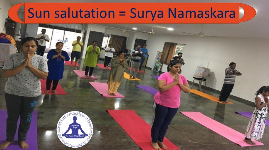 Learn the surya namaskar or sun salutation cycle, its variations, with proper sequences, steps and mantras from experienced yoga teacher at Divyamaya Yoga now at just Rs.500/- for the monthly yoga classes. 2 days free yoga classes also available for the new yoga joinees.  (Tags: sun salutation benefits, sun salutation mantra, sun salutation steps, sun salutation yoga, sun salutation video, sun salutation meaning, sun salutation b, sun salutation for weight loss, sun salutation images, sri sri ravishankar sun salutation c, sun salutation, sun salutation poses, sun salutation a, sun salutation art of living, isha yoga sun salutation a and b, sun salutation app, sun salutation after c section, sun salutation and high blood pressure, sun salutation and weight loss, sun salutation asana names, sun salutation a b and c, ashtanga a sun salutation, baba ramdev, weight loss, hatha yoga, sun salutation breathing sequence, sun salutation beginner, sun salutation chart, sun salutation daily practice, sun salutation dvd, youtube, cd, vcd, for belly fat, back pain, weight gain, pcos, pcod, fertility, power yoga, kundalini yoga, sun salutation flow, sun salutation gayatri mantra, sun salutation how many times, sun salutation history, iyengar yoga sun salutation hip opener, sun salutation herniated disc, sun salutation in sanskrit, sun salutation jump back jump forward, sun salutation jivamukti, kripalu sun salutation lower back pain, sun salutation limitations, sun salutation mantra mp3, sun salutation music, sun salutation moves, sun salutation meditation, chair yoga, sun salutation postures, sun salutation pdf, sun salutation pictures, sun salutation warrior 2, sun salutation poses names, sun salutation purpose, sun salutation positions, sun salutation steps pdf, sun salutation steps with pictures, sun salutation traditional yoga, sun salutation youtube ashtanga, sun salutation upward dog, sun salutation 108, sun salutation 12 steps, sun salutation 12 postures)