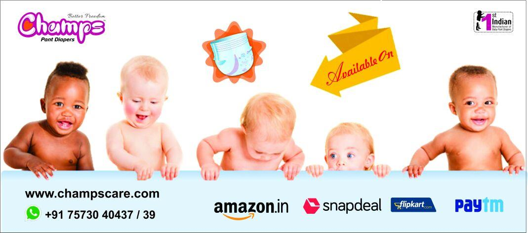 Buy Online!!  Diaper Means CHAMPS  1st Indian Sole Manufacturer of baby pant style Pull-Up Diapers , Also available @Amazon, Flipkart, Snapdeal & Paytm...   For Exports / OEM / Bulk trade inquiry Please feel free to cotact via   E-mail: wecare@safilocare.com  Contact: 08079444679  Whatsapp: +91 7573040437 / 39    champs diapers | pant style diapers | Diapers | baby Diapers | sole Manufacturer of baby pant sytle diaper in india | Indian Diapers | OEM | Export | Bulk Inquiry |  Private labeling |  diaper manufacturer in india