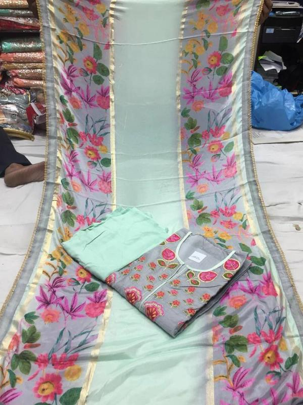 Chanderi shirt with work with cotton bottom with chiffon Duptta printed Call and WhatsApp on 9811116698 chanderi shirt    wholeseller in delhi pashmina wholeseller in chandni chowk pashmina wholeseller in karol bagh