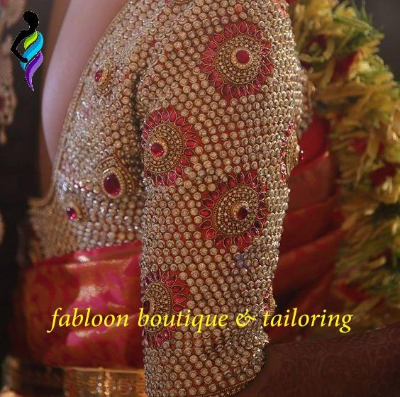 Maroon Stone Work And Heavy Beads Elbow Length Sleeve Bridal Designer Blouse Pink Embroidery Thread Work Elbow Length Bridal Blouse At Fabloon Fashion Boutique And Designer Tailoring In Vadapalani, Mob: +91 9962544411, 044 48644411, Web: http://tailorsinchennai.com/updates-1  Tailor For Ladies In Vadapalani. Bridal Gown Boutique At Kodambakkam. Designer Pattern Blouse Around KK Nagar. Exclusive Designer Blouses Near Ashok Nagar. Check all updates for more collections.