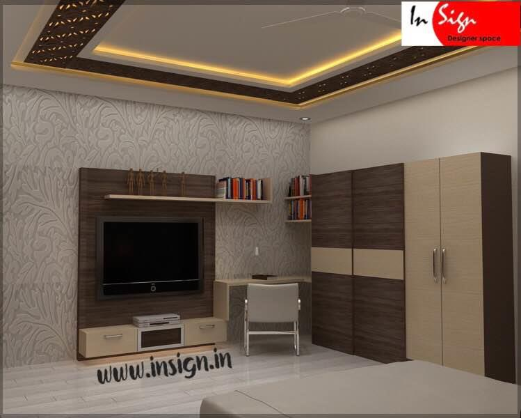 These interior designs are executed at Chennai. We take care of Designing any space  with perfect utilisation of space to match with our clients requirement. Colour combinations used here are with texture in it to give you the aesthetic feel of the room. Designs in false ceiling is done with combination of gypsum and machine cutting boards which again matches the colour of the wardrobes. Over all you can feel the design which blends in to lifestyle with functionality to conveniently use the space either it be wardrobes or tv unit or study unit. Cot has been done completely with cushion panel and fabric around it on all corners instead of adding more wood all over the places.  Hope you like to see more of projects. You can browse our website and be in touch with our designers to help you add more meaning to your space.