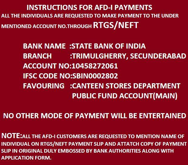CSD Payment procedure for secunderabad depot dependent customers,