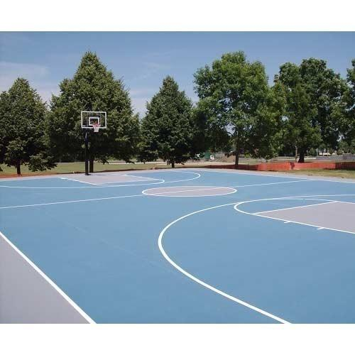 Synthetic Basketball Court  We Sundek Sports Systems are manufacturers of Synthetic Basketball Court in Mumbai.  As well as in India. Product Details: Size Customized Color natural clay Court Type Outdoor Type of layers 5 layers We are a reliable Synthetic Basketball Court Supplier based in India. We offer Basketball Court as per the requirement of the sports sector. Basketball Court we offer is in demand owing to its durability and fine finish. Avail from us exclusively designed Basketball Court at market leading prices.Specialty Our Basketball Court: Affordable and long lasting multi-sport surface Speed variation from fast to slow. True bounce & ball response qualities Reduces fatigue of muscles Relocatable & repairable Suitable for both cement and asphalt surfaces Excellent grip in all weather conditions. Available in different non glare stable colors. No wear patches in heavy play areas Dimensions: Length of a basketball court: 94 feet (1128 inches) Width of a basketball court: 50 feet (600 inches) Specifications: Size of a basketball backboard: Width: 6 feet (72 inches) Height: 3.5 feet (42 inches) Size of a basketball rim: The diameter of the rim is 18 inches The top of the rim should be exactly 10 feet (120 inches) off the ground Distance from the backboard to the back of the rim 6 inches