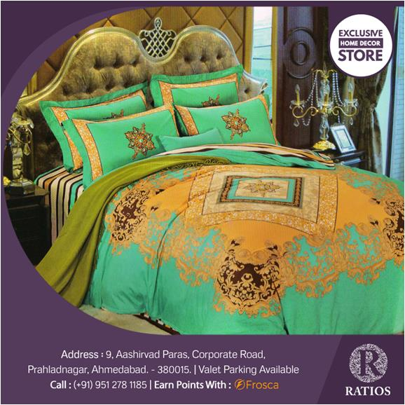 This bedsheet set is a color riot! It's bright and beautiful! Get it exclusively at Ratios!  To buy unique Wedding/Home/Office decor and gifting products visit Ratios on Corporate Road, Prahladnagar or call us at 9512781185. You can also earn loyalty points on our products with Frosca loyalty card.  To know what's new subscribe to our updates on homedecor.ratiosstore.com. You can also buy our products on Amazon and www.ratiosstore.com.  #Ratios #decoration #home #homesweethome #homedesign #homedecor #newhome #myhouseidea #interiordesign #interiors #house #design #architecture #decor #luxury #love #mostliked #homeinspo #homegoods #ambiance #interiordecorating  #exclusivedesign #charminghomes #interiorandhome #ahmedabad_diaries  #ahmedabad