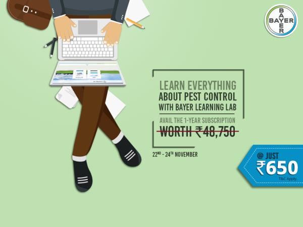 Enhance your knowledge, skills, and techniques to succeed in pest management industry with Bayer Learning Lab. With an exclusive three-day offer, get global online technical training at just Rs. 650 for a year. #ChooseSafetyChooseBayer For more information, click here: http://bit.ly/BAYERSBig3DayOffer