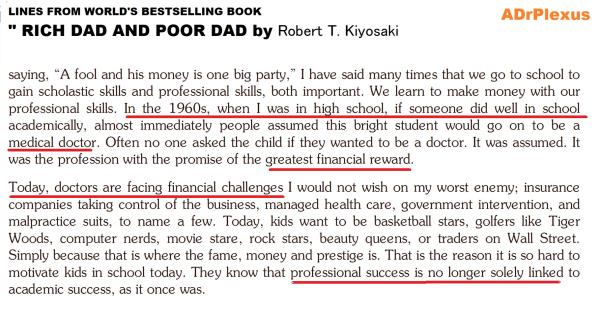 These are the lines about doctors in one of the best selling  financial literacy book