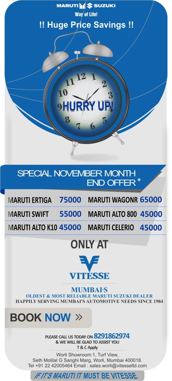 Special Offers for November Month End. T & C Apply...