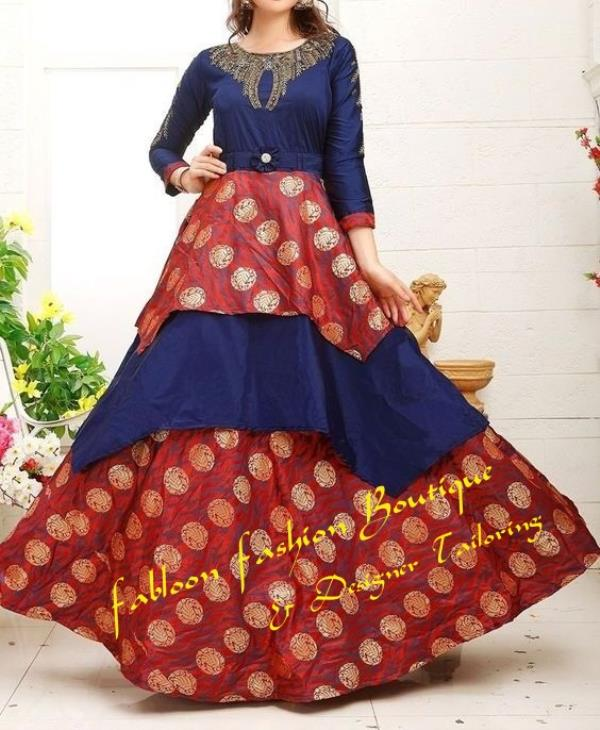 Navy Blue With Maroon Three Fourth Sleeve Umbrella Bottom Designer Frock At Fabloon Fashion Boutique And Designer Tailoring In Vadapalani, Mob: +91 9962544411, 044 48644411.  Popular Clothing Boutique In Vadapalani. Trendy Womens Clothing Boutique At Kodambakkam. Long Sleeve Boutique Dresses Near Arumbakkam. Long Sleeve Maxi Dress Boutique Around Koyembedu. Check all updates for more collections.