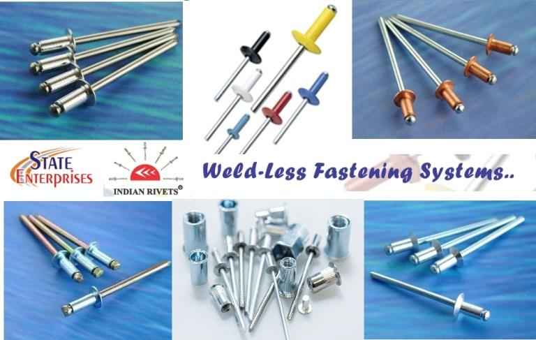 STATE ENTERPRISES offer widest range of blind Pop rivet, blind rivets bifurcated rivets, blind rivets in aluminium, aluminium Alloy, Steel, stainless steel, sealed type blind rivets, multigrip blind rivets, peeled type blind rivets, grooved type blind rivets, olympic mega grip blind rivet, blind rivets nuts & riveting tools.   blind rivets, rivets, pop rivet, aluminium rivet, steel rivet, stainless steel rivet, open type blind rivet, closed type blind rivet, multigrip rivet, coloured rivets, riveting tools, fasteners