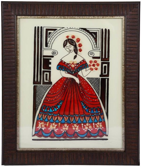 Handmade glass painting with charcoal frame