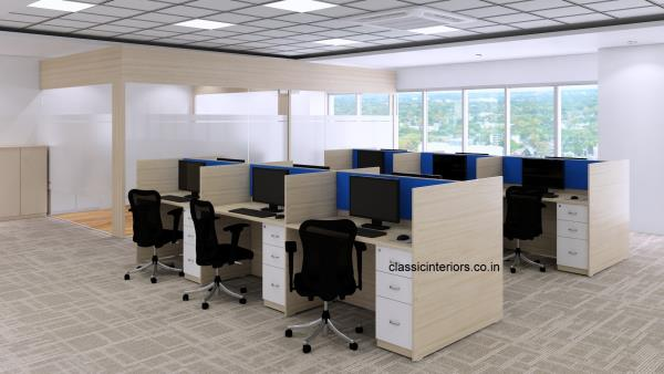 CLuster Workstation for Offices with drawer pedestal made of Prelaminated particle board.