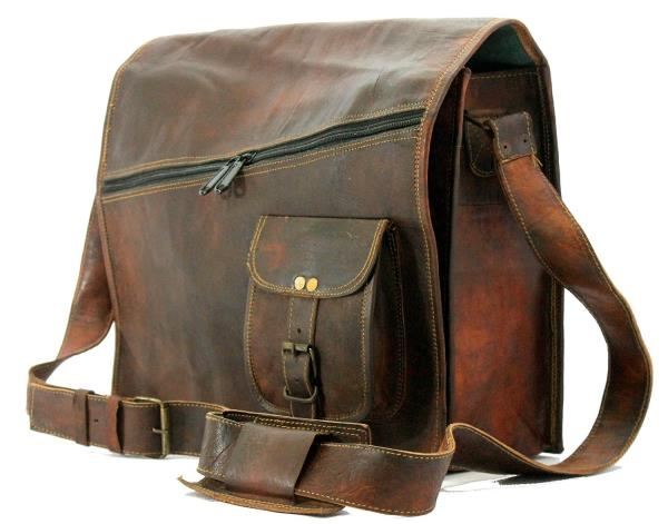 ssenger bag, Handmade leather bagVintage goat leather bag Laptop bag Shoulder bag Briefcase bagGenuine Goat hide and natural process of tanning is used and color darken with use and time It Consist of 3 Compartment Padded for Laptop with 2 inner and 1 outer front chain compartments.Classic Retro Style Laptop/ college messenger bag. this bag has enough room for your books, laptop , files and other essentials.