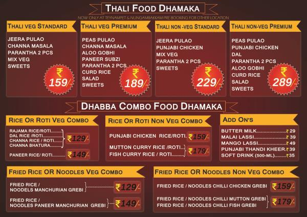 Dhabba Offer menu