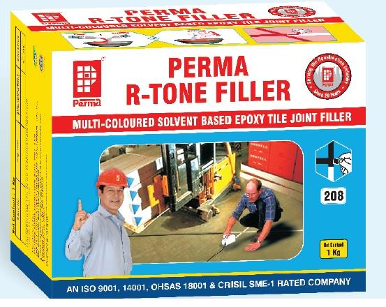 Colored Tile Joint Filler Manufacturer   We manufacture TILE JOINT MORTAR in India   MULTI COLOURED EPOXY BASED TILE JOINT MORTAR DESCRIPTION  Perma R-Tone Filler (RTF) is a three component epoxy resin based mortar used for filling joints between acid proof tiles in the industrial floors, swimming pools, cafeteria, shopping malls etc. Perma R-Tone Filler provides aesthetic, germproof, permanent, hard wearing, chemical resistant joints for industrial floor tiles. It provides a smooth, hygienic and dust free floor tile joints.  PRIMARY USES For grouting industrial floor joints and joints between kota stones, mandana stones and joints of any such acid proof flooring materials where strength and chemical resistant properties are expected.  TYPICAL APPLICATION Perma R-Tone Filler is designed for use in the floor tile or stone joints in operation theaters, agricultural building, factories, laboratories, bakeries, supermarkets, showrooms, power station, warehouse, breweries, garages, machine shops, chemical plants, dairies, hospitals, refineries, subway, surgical treatment plants and many other industrial and commercial applications.  ADVANTAGES High compressive, flexural and tensile strengths in excess of concrete. Available in range of attractive colors-Ivory, Creamy Yellow, Golden Yellow, Creamy Pink, Frosty Brown, Copper Cloud, Pista Green, Sky Blue, Royal Blue, Terracotta Brown, Silver Grey, Leafy Green, Ocean Blue and many more. Chemical resistant and waterproof. Hygienic and non-dusting. Easy to use, easy to clean. Epoxy based, supplied in pre-weighted units. Will not support bacterial growth.   For more information you can visit our website www.permaindia.biz