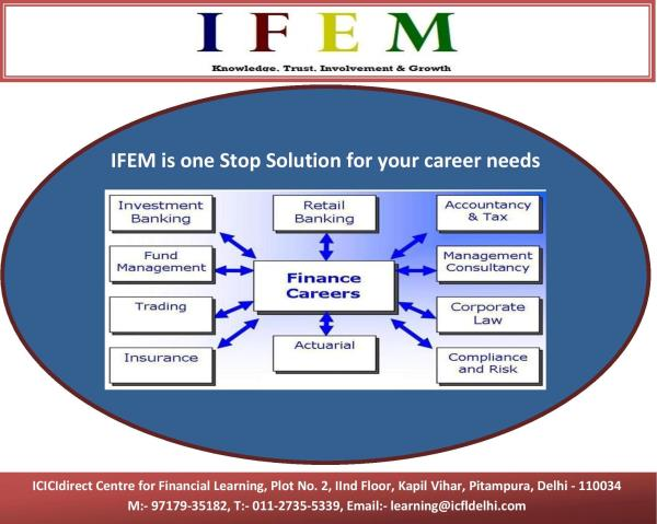 Looking for Career in Finance???  IFEM is only choice among Industry Professionals.  Choose a career in various domains like #Retail Banking, #Investment Banking, #Consultancy Services, #Fund Management, #Equity Research, #Portfolio Management, #Transfer Pricing, #Compliance, #Risk Management, #Taxation, #Wealth Management, #Actuarial Science etc