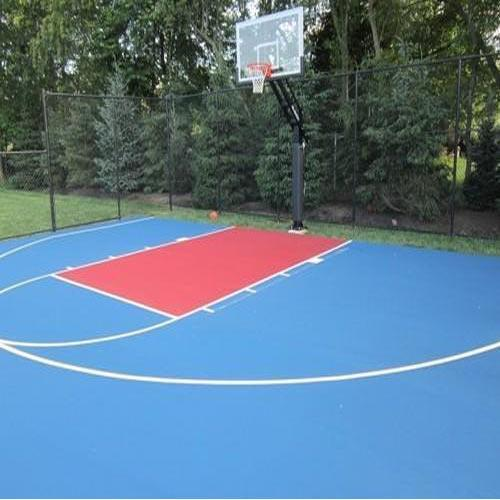 Basketball Surface Construction  We Sundek Sports Systems are manufacturers of in Mumbai.  As well as in India. Product Details: Number of Courts	1 Court Type	For Competition, For Practice Size/Area	94 by 50 feet  Basketball Surface Construction service support offered are affordable as well as long lasting sport surface solutions that provide for superior bounce & ball response. With our expertise in offering solution in form of cement and asphalt surfaces, these offer excellent grip in all weather conditions. Further, we can offer the surfaces in options of different colors with superior quality finish that helps in reducing fatigue of muscles. With the solutions based on internationally approved and technically sound laying system, its re-coated & repairable finish also makes the surfaces maintenance free and long-lasting in usage.   Features:   Affordable as well as long lasting sport surface solutions Surfaces providing for superior bounce & ball response Expertise in offering surface solutions in options of cement and asphalt Offering excellent grip in all weather conditions, we can offer the surfaces in options of different colors Superior surface quality also helps in reducing fatigue of muscles Re-coated & repairable finish, thus making the surfaces maintenance free and long-lasting Internationally approved and technically sound laying system Finding use in areas like clubs, schools, hotels, stadiums and other places  Specifications:  Dimension:  Length of a basketball court -94 feet (1128 inches) Width of a basketball court- 50 feet (600 inches) Size of a basketball backboard: Width: 6 feet (72 inches) Height: 3.5 feet (42 inches) Size of a basketball rim The diameter of the rim is 18 inches The top of the rim should be exactly 10 feet (120 inches) off the ground Distance from the backboard to the back of the rim 6 inches  Surfaces Offered:  Sundek Air-Cush Wooden Flooring (Indoor) Outdoor All Weather Synthetic Surface PVC Vinyl Flooring