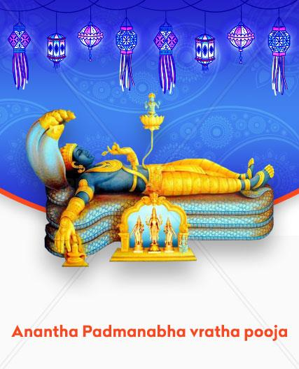The Ananta Padmanabha Vratha Pooja is conducted as a tribute to the Vishnu Devaru. On the Shukla Chaturdashi of Bhadra month, Vishnu Devaru had appeared as Padmanabha reposing on the Anantha Sesha, the thousand hooded snake. It is believed to resolve misery and remove sorrows from the lives of worshippers.    Religious Significance of Ananta Padmanabha Vratha Pooja Ananta Sesha grants the wishes of his mortal worshippers on this auspicious day When Can the Ananta Padmanabha Vratha Pooja be Performed? Ananta Chaturdashi that falls in the Shukla paksha or waxing moon phase of Bhadra month is apt for performing it. Advantages of Performing the Ananta Padmanabha Vratha Pooja  Offers knowledge and enlightenment Freedom from pain and difficulties plaguing life
