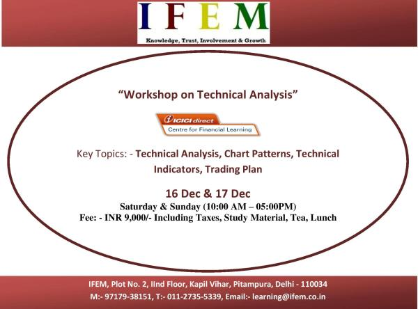 "Workshop on Technical Analysis (2 Days)  Academic Benefits ·         Learning from the Industry Practitioners- Strengthening of curriculum by adding practical knowledge from ICICI Securities, which has 15+ years of domain expertise in Financial Planning, Wealth Management and Capital Markets ·         Industry/ Subject Experts as Faculty to deliver the training ·         Highly researched study material having real market cases and illustrations  Program features: ·         Workshop will be delivered by industry expert with experience of more than 10 years.  ·         The programs will be held in the weekends (Sat/ Sun) only and the calendar for all the programs will be shared with the participant in advance/at the time of registration.  ·         Sessions will be followed with Tea, Lunch & Tea and timings of the sessions will be from 10 AM to 5 PM on each day.  ·         Training material for each module will be provided during the training.  Fees Payment Details: Training fees can be paid as per the options given below.  ·         Payable via Cheque in favor of ""ICICI Securities Limited"" payable at New Delhi  ·         NEFT/ IMPS as per details mention -  Account No: 000405073676, Bank: ICICI Bank, Branch: Nariman Point, Mumbai, Account Name: ""ICICI SECURITIES LIMITED – Proprietary Account"", IFSC code: ICIC0000004  Program Coordinator:- Piyush Garg (97179-38151)"