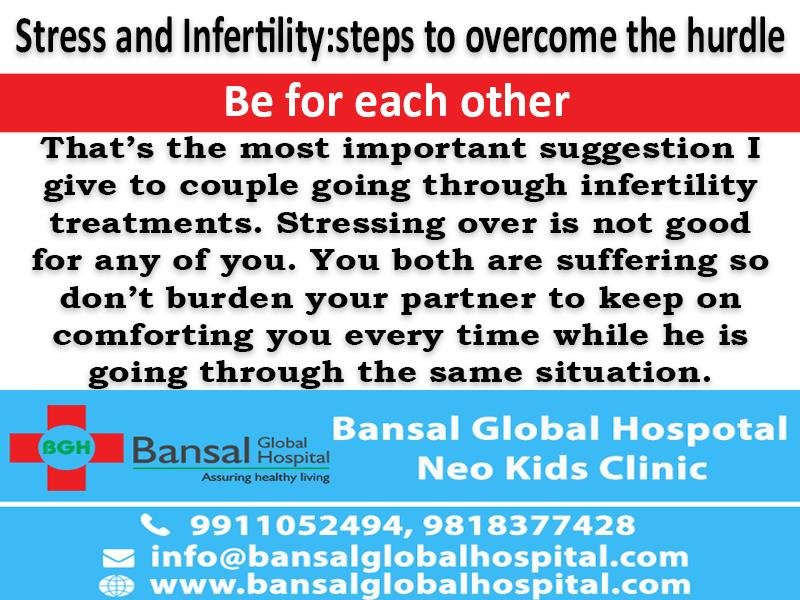 Stress and Infertility: Dr. Bimla Bansal recognises 5 steps to overcome the hurdle  Child birth is indeed one of the most special moments in most couples' life. And quite naturally, when they aren't able to conceive when planning the parenting phase of their life, it comes to them as a disappointment. This leads to increased stress and eventually other ailments.  Bansal Global Hospital Read More : https://bansalglobalhospital.com/stress-and-infertility-dr-bimla-bansal-recognises-5-steps-to-overcome-the-hurdle/