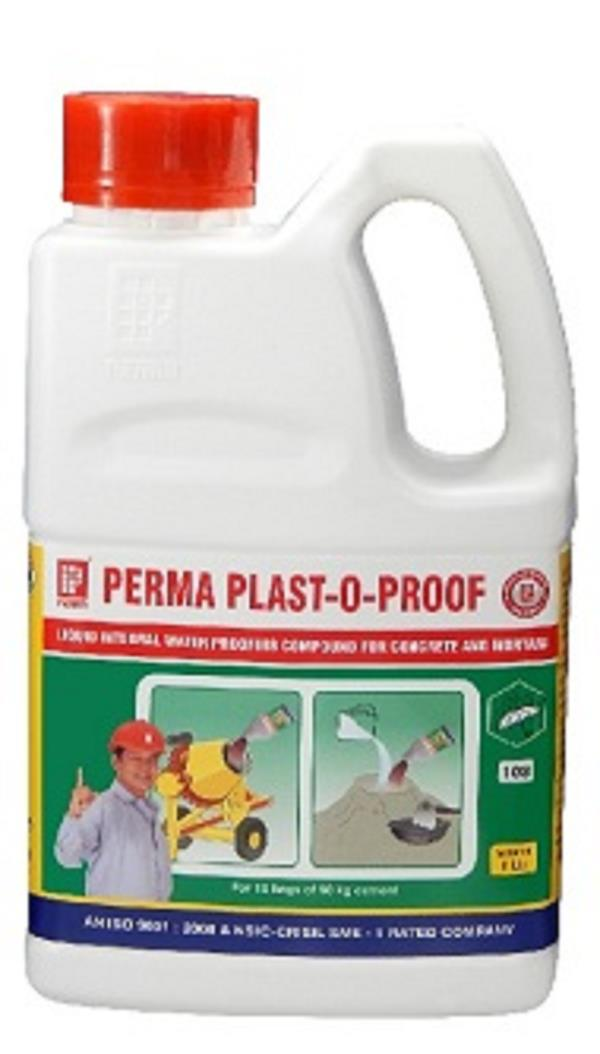 INTEGRAL WATERPROOFING CHEMICAL FOR CEMENT We are leading Supplier Waterproofing Product & Manufacture Cement Waterproofing Liquid Which is used as a Perma Plast -O- Proof . It is help Cement Waterproofing application when you are doing plaster. Plast-O-Proof is an Integral Waterproofing Liquid, ideal for use with both Concrete Waterproofing and Plasters Waterproofing. Plast-O-Proof is based on specialized surfactants and synthetic resin which impart superior flow and cohesive properties in concrete and mortars. Use of Integral Waterproofing Compounds in concrete and mortar is one of the precautions taken to achieve a waterproof concrete or plaster. Perma Plast O Proof is A good waterproof concrete or plaster is achieved by good construction practices. Precautions to be taken to achieve the goals include: 1. Proper mix design. 2. Selection of good aggregates, sand and cement. 3. Adhering to W/C ratio in the range of 0.45. 4. Proper mixing, placing and curing. 5. Use of a good integral waterproofer. It is emphasized that integral waterproofer and plasticisers only help in making a good concrete better. Hence observance of good construction practices is of utmost importance for achieving the overall goal. ADVANTAGES Perma Plast -O- Proof have the following advantages for Waterproof Concrete and Waterproof Plasters : 1. Durability is increased due to air entrainment. 2. Segregation bleed and thereafter honeycombing is prevented. 3. Surface finish of concrete and plaster is improved. 4. Attacks by Sulphates and chlorides from ground water in coastal areas is well tolerated. If you want the quote full information available on our website www.permaindia.biz & www.permaindia.com
