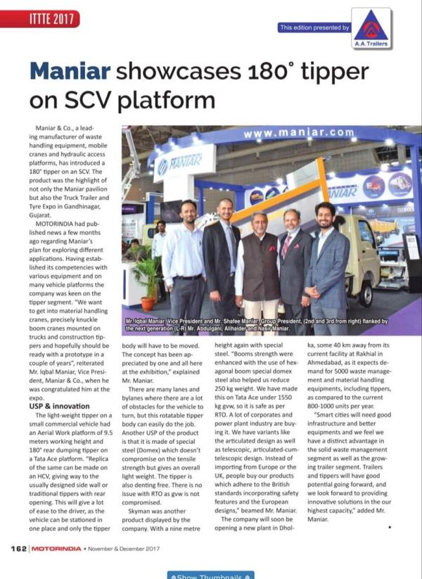 Article in Motor India in nov-dec edition. The Article is a special edition for truck and trailers manufacturers and accessories.