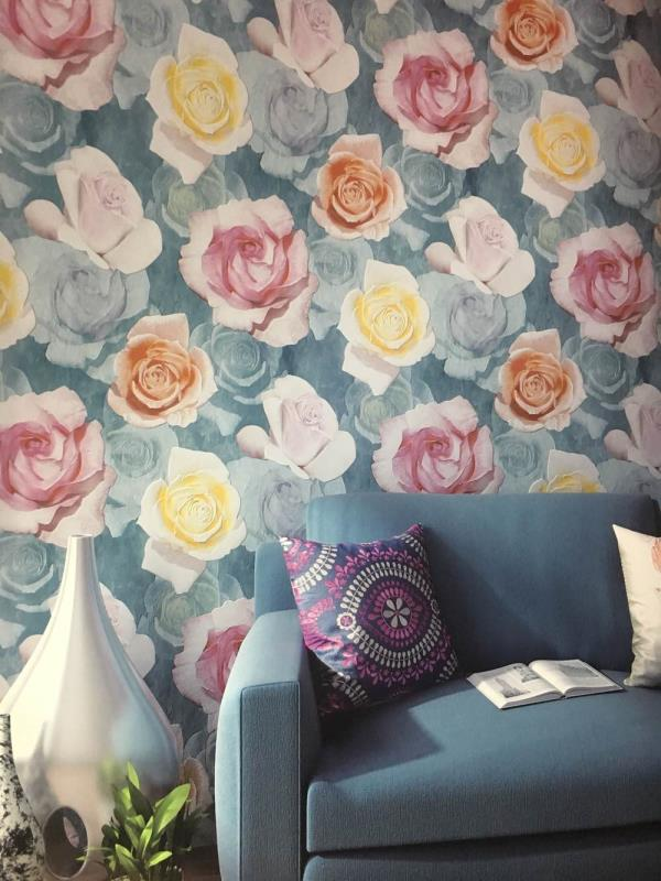 Floral Wallpaper in Imported Wallpaper.  A multi color beautiful wallpaper for your Drawing room.  A bhagwan dass wallpaper collection.   Alice wallpaper Collection. To buy call us   Wallparadise-Alice wallpaper Supplier in Delhi.