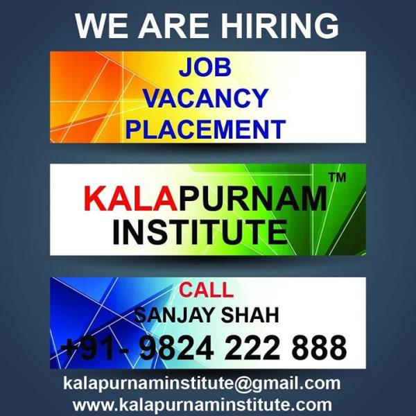 WE ARE HIRING ( KALAPURNAM INSTITUTE ) ------------------- Vacancy. Placement. Job. All openings for our own institute requirement. ------------- White collar job profile. Regular office timing. Office based job. No outside field job. --------------- Vacancy for Ahmedabad / Vallabh Vidhyanagar ( Anand ) / Mehsana / Vadodara / Ajmer City. -------------- Job Post :   1. Counsellor 2. Office Assistant 3. Faculty 4. Creative Content Writer 5. Tele Caller 6. Receptionist 7. Hardware IT Engineer 8. Branch Manager 9. Tele Marketing Person 10. Peon  ------------- Call / WhatsApp / Telegram : Sanjay Shah +91 9824222888 or Mail your resume to  kalapurnaminstitute@gmail.com ------------------ Training Institute for  Visual Effects ( Vfx ) / 2d-3d Animation / Graphic / Web / Multimedia / Gaming / Digital Photography / Videography / Video Editing / Compositing / Fine Arts / Fashion - Interior - Architecture Design courses. ----------------- Head Office & Main Branch :              Kalapurnam Institute. 205, 2nd floor, Kalapurnam Building, Above Citi Bank, Near Municipal Market,  C. G. Road, Navrangpura, Ahmedabad, Gujarat. Pin - 380009. -------------- Website : www.kalapurnaminstitute.com www.kivaindia.com ---------------- Mobile App  - KALAPURNAM INSTITUTE   ------------- Social Media Presence - Facebook, Instagram, Twitter, WhatsApp, Telegram, GooglePlus,  YouTube, LinkedIn, Blogspot, Pinterest, Swarm, Flickr, Tumblr.