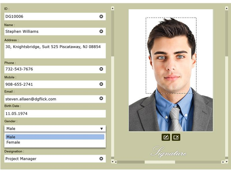 ID CARD DESIGN SOFTWARE  Designing tools Inbuilt ICARD designer to design professional ICARDs. Any size ICARD in vertical and horizontal orientation. Liberty to design single side and duplex ICARDs with same comfort. Use own backgrounds and other materials to design ICARDs as per client's requirements.  Data Objects Preset data object's look and feel on design and automatically get it replaced with bulk of the actual data. Advance setting of font type, size, style and color for text data. Set image sizes, frames, effects well in advance. Also, mark the positions of barcode and QR codes.  Database Multi format supporting. Import data files in CSV and XLS formats. Maintain fonts and languages of data as it is. Dynamic mapping of data with fields on i card design.  Data Entry Simplified data entry process with the fields of user's choice. Make data entry more smarter by just defining type of data field from text, list, time, date, multiline text, etc.  Flexible Data Fields Data field flexibility according to business type. Flexibility in terms of defining additional fields according to requirements. Even more easy data field building with types like text, list, date, time, multiline texts. Automatic ID number generating with desired prefix and suffix.