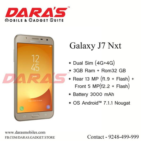 #Galaxy_J7_Nxt #Dual_Sim and Rear #Camera_13_Mega_Pixel with 1.9 #flash_Light  Now Available at DARAS