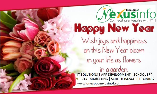 Wishing you All  A very Happy New Year.  Onespot Nexusinfo,  IT Solutions, School ERP,  POS Software, Digital Marketing, Mobile App Development, Skill Training, School Bazaar.