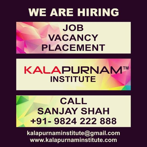 WE ARE HIRING ( KALAPURNAM INSTITUTE ) ------------------- Vacancy. Placement. Job. All openings for our own institute requirement. ------------- White collar job profile. Regular office timing. Office based job. No outside field job. --------------- Vacancy for Ahmedabad / Vallabh Vidhyanagar ( Anand ) / Mehsana / Vadodara / Ajmer City. -------------- Job Post :   01. Counsellor ( Female Only ) 02. Office Assistant 03. Faculty 04. Creative Content Writer 05. Tele Caller 06. Receptionist 07. Hardware IT Engineer 08. Branch Manager 09. Tele Marketing Person 10. Social Media Marketing Expert 11. Field Marketing Person ( Male only , Only field job ) 12. Peon   Preference for all above mentioned jobs. 1.  Age  : 20 to 35  years. 2. 1-2 years experience of the same profile. ------------- Call / WhatsApp / Telegram : Sanjay Shah 09824222888 or Mail your resume to  kalapurnaminstitute@gmail.com ------------------ Training Institute for  Visual Effects ( Vfx ) / 2d-3d Animation / Graphic / Web / Multimedia / Gaming / Digital Photography / Videography / Video Editing / Compositing / Fine Arts / Fashion - Interior - Architecture Design courses. ----------------- Head Office & Main Branch :              Kalapurnam Institute. 205, 2nd floor, Kalapurnam Building, Above Citi Bank, Near Municipal Market,  C. G. Road, Navrangpura, Ahmedabad, Gujarat. Pin - 380009. -------------- Website : www.kalapurnaminstitute.com www.kivaindia.com ---------------- Mobile App  - KALAPURNAM INSTITUTE   ------------- Social Media Presence - Facebook, Instagram, Twitter, WhatsApp, Telegram, GooglePlus,  YouTube, LinkedIn, Blogspot, Pinterest, Swarm, Flickr, Tumblr.