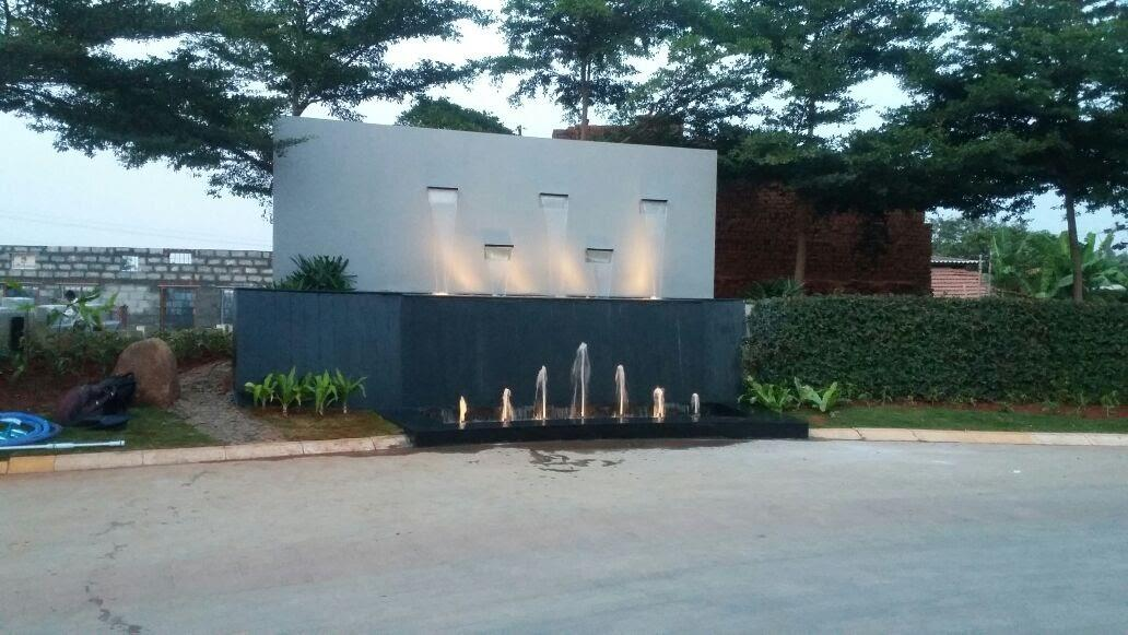 Swimming Pool and Fountain Contractors in Bangalore . We undertake design and construction of swimming pools, fountains and water bodies across all south Indian locations.  Entrance Water feature created by Team Water Works for Assetz Property Group- Clover Greens Villa project @ Bangalore