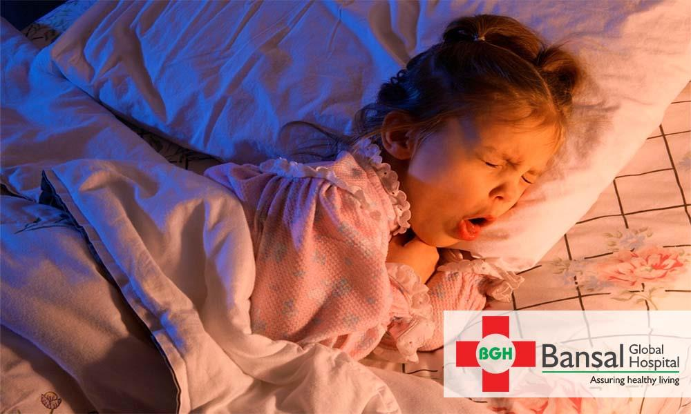 Danger signs of cough in children Cold and cough is very common in growing years of life. It may be due to change in weather, seasonal allergies etc that can thankfully be controlled easily. But sometimes cold and cough can be dangerous and may indicate serious illness. It is necessary to identify signs that indicate that the problem is bigger than mere seasonal flu. Some of these signs are listed below:  Cyanosis  If your child turns bluish in colour while coughing, it should not be ignored. Bluish discoloration of skin is due to low levels of oxygen in body known as hypoxia. It can be due to obstructive lung diseases or choking. Immediate medical attention may be required in many cases.  Whooping cough  Whooping cough is a condition which is caused by an organism called Bordetella pertussis. Bouts of cough with whooping sound is seen in these children. Pertussis is a bacterium and can spread easily, hence, proper precautions must be taken while handling infected child. It can be prevented by vaccination during infant life.  Night time cough  Night time coughing usually signifies asthma. As a result of change in position, bronchi go into spasm and causes breathlessness or dyspnea. It can also be due to use of certain drugs. Consult your doctor if your kid starts coughing while going to bed.  Sputum production Sputum plays a very important role in diagnosing diseases. If the sputum is yellowish or greenish, it could be due to infection. Excess sputum signifies pneumonia or any other serious condition such as cystic fibrosis. It is important to observe your child's sputum production to rule out and prevent fatal diseases.  If any of the above or other extra ordinary symptoms are noticed in your child, you should not delay medical consultation any further. Take your child to the nearest pulmonologist at the earliest.  To book an appointment with renowned specialists, contact:  Bansal Global Hospital, Pitampura.  About Bansal Global Hospital A world class private hospi