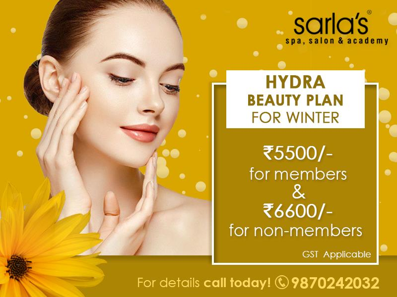 Take care of your beauty in winter with #HydraBeautyPlan by Sarla's Spa Salon & Academy  For more details call on - 98702 42032  #wintercare #winterpamper #skincare