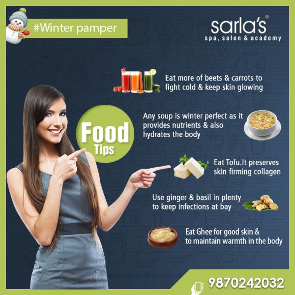 Sarla's best winter care tips for you...  For more details call on - 98702 42032 #wintercare #winterpamper #tips #foodcare  - by Sarla's Spa & Salon, Thane