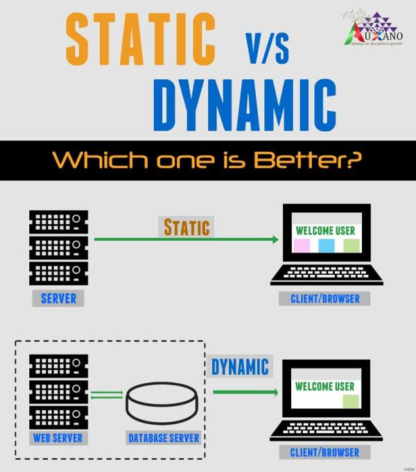 nd Dynamic Website:-A static site is one that is usually written in plain HTML and what is in the code of the page is what is displayed to the user.A dynamic site is one that is written using a server-side scripting language such as PHP, ASP, JSP, or Coldfusion. In such a site the content is called in by the scripting language from other files or from a database depending on actions taken by the user.Dynamic sites use languages like PHP to interact with information stored in a databases. For this reason, dynamic sites are much more complicated and expensive to create.However, static site utilizes JavaScript, but no PHP or any other programming language, since JavaScript is a client-side language.In static website the content is only changes when someone publishes and updates the file (sends it to the web server).While in dynamic website the page contains