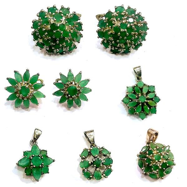 925 Sterling Silver Green Emerald Jewelry Collections