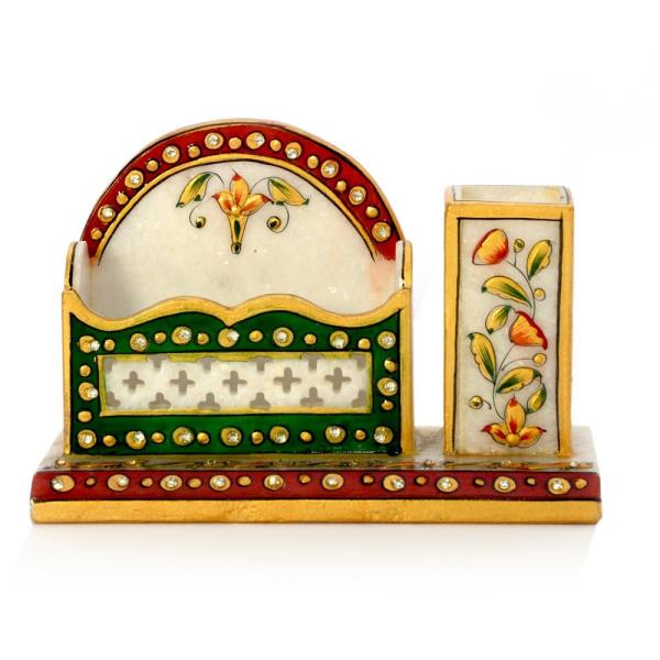 Buy Meenakari Marble Pen Stand n Visiting Card Holder Online.   Marble Visiting Card Holder offered by Little India is widely appreciated for its unique design. Embellished with various gemstones setting it shows your style to mainatin visiting cards in unique way. A stunning home decor, this marble Business card holder will steal attention wherever you put it! Multicolor designs makes this show piece an outstanding gift idea as well! Keep it on your work table and amaze your guests !   Click on the below link to view the product:   http://littleindia.co.in/meenakari-marble-pen-stand-n-visiting-card-holder-381/p517