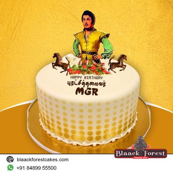 Blaack Forest cakes Remembering our lovable #MakkalThilagam #PurathchiThalaivar #MGR MG RamaChandran on his 101th Birth Anniversary!!!  Shop Online/Whatapp to get 10% Off Buy #Cakes online: http://www.blaackforestcakes.com/ or Call us at - 84899 55500 #Whatsapp to order: https://goo.gl/YJHhJz  #HBDMGR #MGRDesignerCakes #BlaackForestCakes