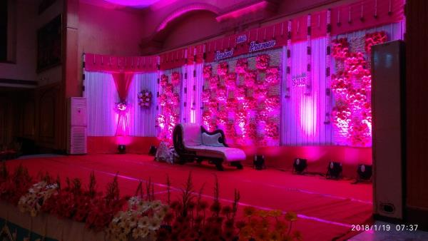 www.avsamevents.in,  +919566445453,  A Grand Wedding Planned, Decorated and Organized with lots of flowers with Pink theme, and more colorful flowers on wedding stage screen and in front of the stage too, and our other more services like entrance, lighting, Garland, etc... All did successfully with our team guys of Avsam wedding and event planners in Femina Hotel Lotus Hall, trichy, tamilnadu, India.