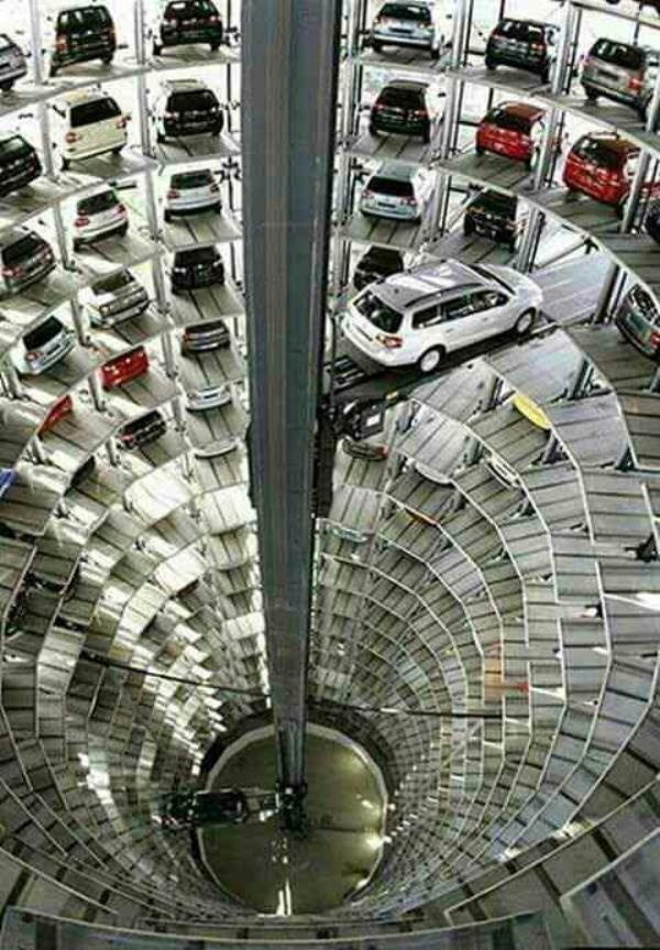 Marvel of engineering.  Multi storied automatic car parking.  Thousands of car can be park at a same time and within a short time can be taken out.