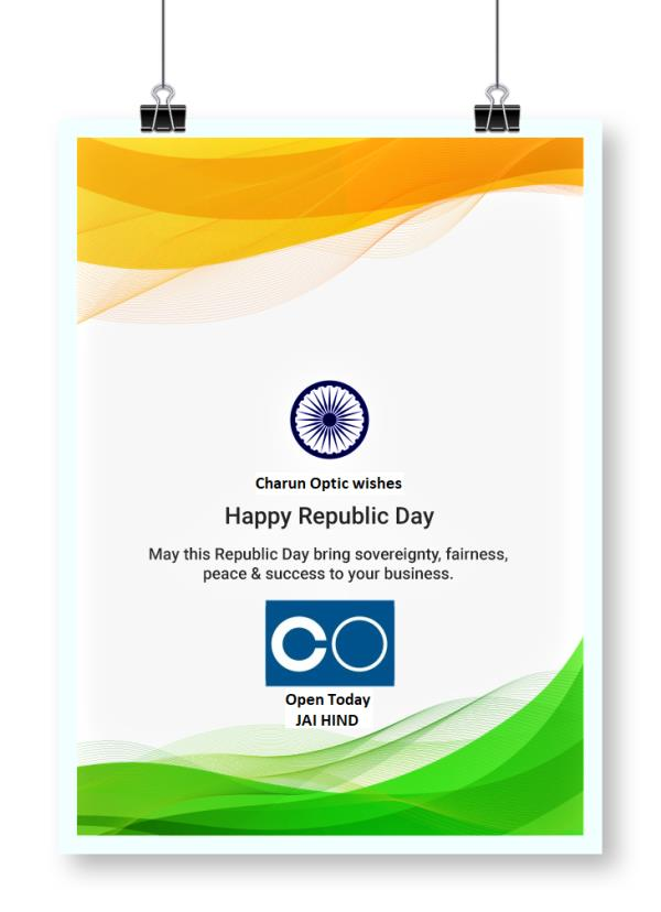 Happy 69th Republic Day, 2018  On January 26, the country celebrates its 69th Republic Day. ... Observe the occasion of Republic Day by spreading peace, patriotism and joy   Freedom in the mind,  Strength in the words,  Pureness in our blood,  Pride in our souls,  Zeal in our hearts,  Let's salute our India on Republic Day. Happy Republic Day!  #charunoptic #happyrepublicday #republicday #joy #pride #Zeal #Pureness #Love #patriotism #peace #onenationonevision #unity #jaihind   C   O Charun Optic +919898335547 shop.charunoptic.com www.charunoptic.com Find Us @ All Social Media Jay Hind !!!