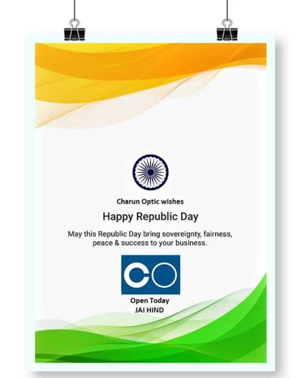 Happy 69th Republic Day, 2018 Open Today   On January 26, the country celebrates its 69th Republic Day. ... Observe the occasion of Republic Day by spreading peace, patriotism and joy   Freedom in the mind,  Strength in the words,  Pureness in our blood,  Pride in our souls,  Zeal in our hearts,  Let's salute our India on Republic Day. Happy Republic Day!  #charunoptic #happyrepublicday #republicday #joy #pride #Zeal #Pureness #Love #patriotism #peace #onenationonevision #unity #jaihind   C   O Charun Optic +919898335547 shop.charunoptic.com www.charunoptic.com Find Us @ All Social Media Jay Hind !!!  View more at: http://charunoptic.com/Happy-69th-Republic-Day-2018-On-January-26-the-country-celebrates-its-69th-Republic-Day-Observe-the-occasion-of-Republic/b1708