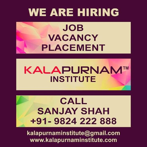 WE ARE HIRING ( KALAPURNAM INSTITUTE ) ------------------- Vacancy. Placement. Job. All openings for our own institute requirement. ------------- White collar job profile. Regular office timing. Office based job. No outside field job. --------------- Vacancy for Ahmedabad / Vallabh Vidhyanagar ( Anand ) / Mehsana / Vadodara / Ajmer City. -------------- Job Post :   01. Counsellor ( Female Only ) 02. Office Assistant 03. Faculty 04. Creative Content Writer 05. Tele Caller 06. Receptionist 07. Hardware IT Engineer 08. Branch Manager 09. Tele Marketing Person 10. Social Media Digital Marketing Expert 11. Field Marketing Person ( Male only , Only field job ) 12. Office Boy Peon -------------- Preference for all above mentioned jobs.  1.  Age  : 20 to 35  years. 2. 1-2 years experience of the same profile. ------------- Call / WhatsApp / Telegram : Sanjay Shah 09824222888 or Mail your resume to  kalapurnaminstitute@gmail.com ------------------ Training Institute for  Visual Effects ( Vfx ) / 2d-3d Animation / Graphic / Web / Multimedia / Gaming / Digital Photography / Videography / Video Editing / Compositing / Fine Arts / Fashion - Interior - Architecture Design courses. ----------------- Head Office & Main Branch :              Kalapurnam Institute. 205, 2nd floor, Kalapurnam Building, Above Citi Bank, Near Municipal Market,  C. G. Road, Navrangpura, Ahmedabad, Gujarat. Pin - 380009. -------------- Website : www.kalapurnaminstitute.com www.kivaindia.com ---------------- Mobile App  - KALAPURNAM INSTITUTE  ------------- Social Media Presence - Facebook, Instagram, Twitter, WhatsApp, Telegram, GooglePlus,  YouTube, LinkedIn, Skype, Blogspot, Pinterest, Swarm, Flickr, Tumblr.