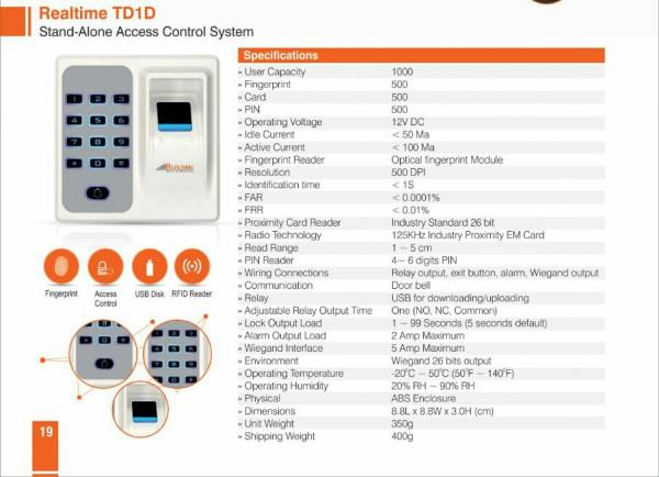 Realtime TD1D Stand-Alone Access Control System If you need Door Access Control System only with Finger, Card & Password then Realtime TD1D Stand-Alone Access Control System is the best solution for you. For more details please contacts our team on 9811410963, 8708734212 or visit us on http://www.goldlinesecuritysystems.co.in/access-control-system.html