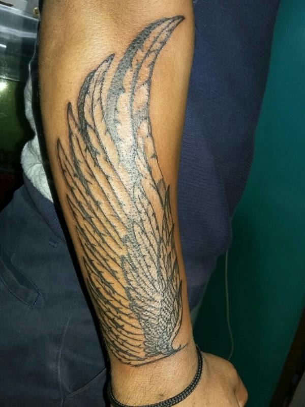 Black N Grey Feather ForeArm Tattoo Designs For Men.. : Commercial ...