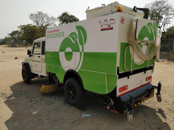 Vacuum Road Sweeper Machine developed on Mahindra Bolero. Can be developed on Eicher, Tata , Ashok Leyland.  Hopper Capacity - 1.4 CBM 2 nos of side Brush 1 main broom Patent Pending.
