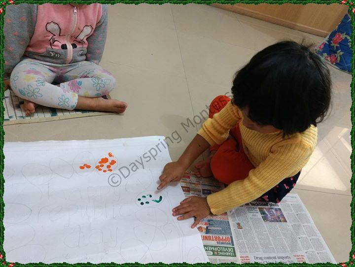 Our children decorated the Republic Day chart and enjoyed their work with paints/colours. They adorned orange, white, blue and green colour dress on the day and sang a Patriotic song