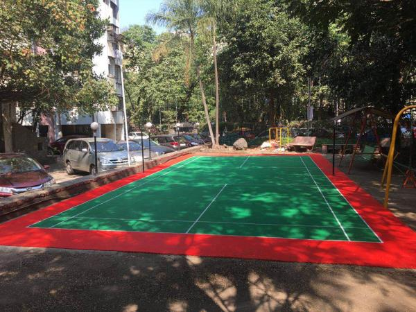 PP modular Badminton Court made for a residential building at Hiranandani. These tiles can be colour customised and are long lasting.